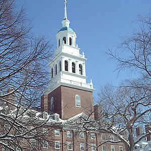 :: Harvard's Lowell bell tower is home to a set of 17 Russian bells (one more, the largest, is across the river at the Business School), which are being sought by their original owner, the Danilov Monastery in Moscow. They have awakened Harvard students for 72 years.